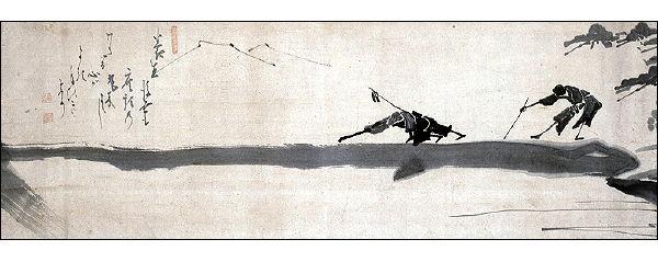Hakuin Ekaku (1686-1769), Two Blind Men Crossing a Log Bridge - Image on Backinthesameboat.com - Verloren Hoop Productions
