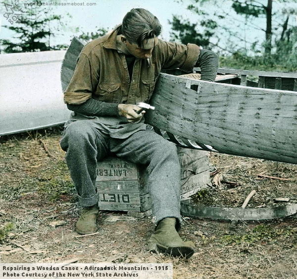 Repairing a Wooden Canoe - Adirondack Mountains - 1915 - Photo on Backinthesameboat.com