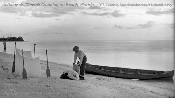 Anthony W. Dimock camping on beach - 1907 - American Museum of Natural History - Image on Backinthesameboat.com - Verloren Hoop Productions