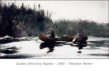 Guides Shooting Rapids, a painting by Winslow Homer, 1895