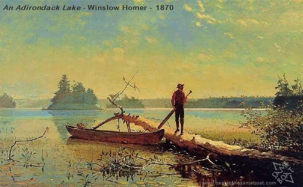 Winslow Homer - Adirondack Lake - 1870 - Image on Backinthesameboat.com - Verloren Hoop Productions