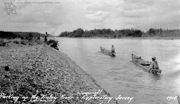 Survey Crew Tracking up the Finlay River - 1914 - Frank Swanell Image on Backinthesameboat.com