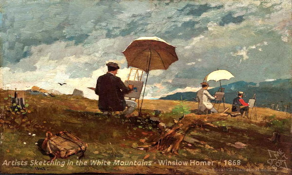 Artists Sketching in the White Mountains - 1868 - Winslow Homer - Image on Backinthesameboat.com - Verloren Hoop Productions